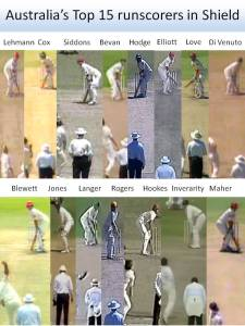 Australia's Top 15 Test run-scorers at around the time the bowler jumps into his delivery stride. (Photo credit: Dean Plunkett)