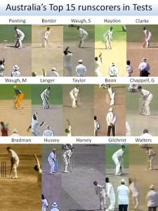Australia's Top 15 Test run-scorers at around the time the bowler jumps into his delivery strike. (Photo credit: Dean Plunkett)